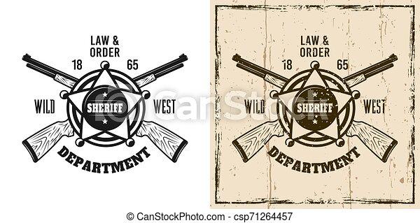 El emblema del Sheriff vector occidental, placa, etiqueta, logotipo - csp71264457