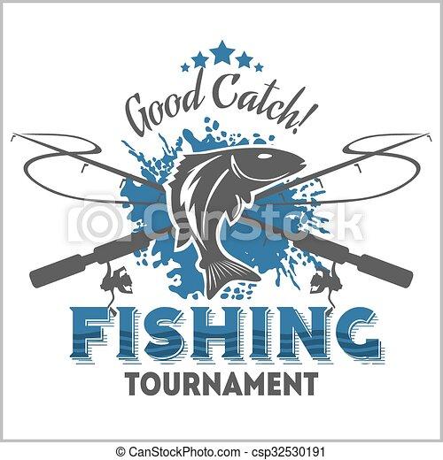 Un emblema de pesca, placa y elementos de diseño - csp32530191