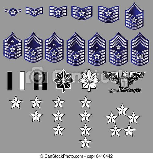 insignia, fuerza, nosotros, grado, aire - csp10410442