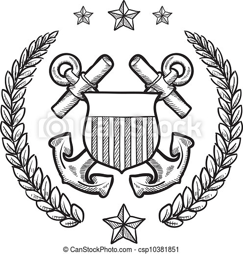 insignia, guarda, nós, costa - csp10381851