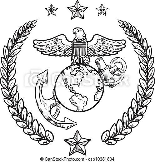 insignia, militar, marinho, nós, corpo - csp10381804