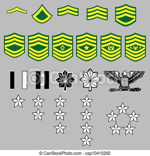 insignia, nós, grau, exército - csp10410292