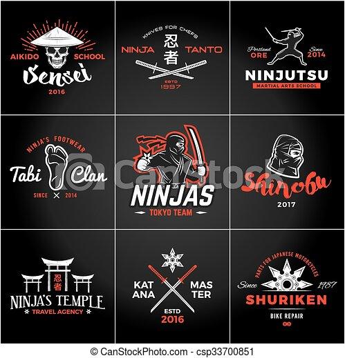 Un grupo de ninjas japoneses. Diseño de armas Katana. Una insignia de mascota ninja. El concepto de ilustración de camisetas del equipo de arte marcial. - csp33700851