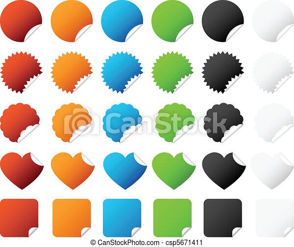 insignia, pegatina, vector, conjunto - csp5671411