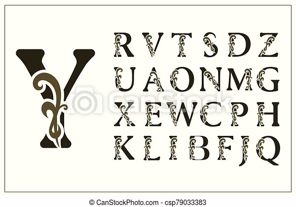insignia., simple, elegante, dibujado, collection., inglés, style., calligraphic, conjunto, logos., emblems., vector, letters., filigrana, hermoso, monograms., elegante, alphabet., vendimia, capital, ilustración, diseño - csp79033383