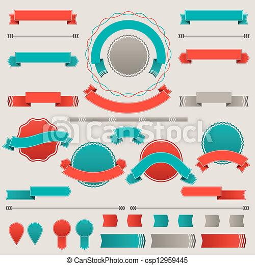 Un conjunto de placas retro, etiquetas, cintas y elementos de diseño. - csp12959445