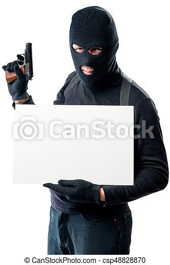 inskrift, affisch, bandit, holdingen, farlig, beväpnat - csp48828870