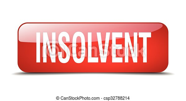 insolvent red square 3d realistic isolated web button - csp32788214