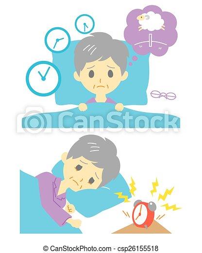 Insomnia, sleeplessness, old woman - csp26155518