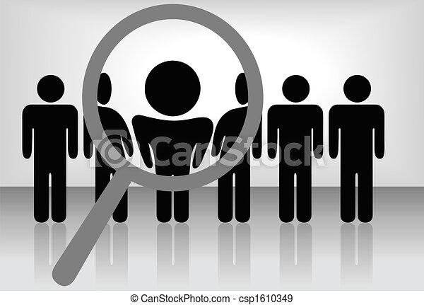 Una lupa de aumento encuentra, selecciona o inspecciona a una persona en una línea de gente: búsqueda de empleo, reconocimiento, promoción, alquiler, etc - csp1610349