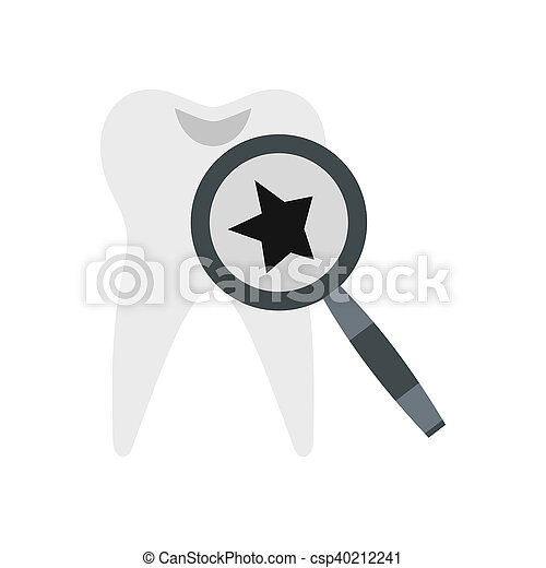 Inspection of tooth icon, flat style - csp40212241