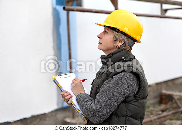 Inspector at construction site - csp18274777