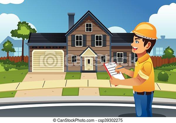 Inspector en casa frente a una casa - csp39302275
