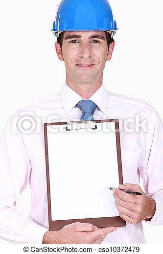 Inspector holding clip-board - csp10372479