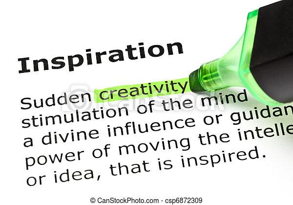 'inspiration', highlighted, 'creativity', pod - csp6872309