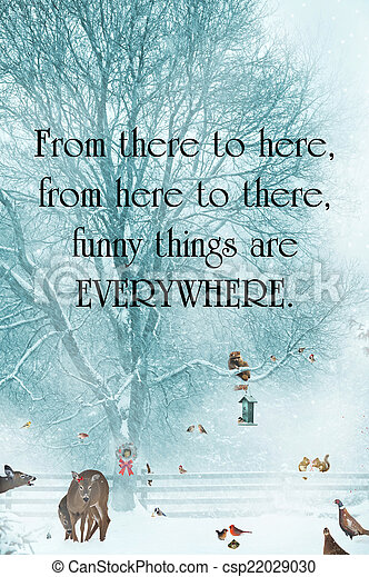 Inspirational quote about humor by Dr. Suess, with funny animals gathering during a snowstorm. - csp22029030
