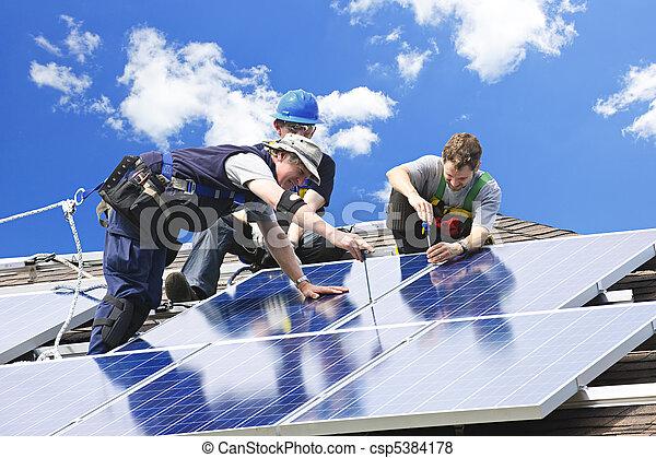 instalação, painel solar - csp5384178