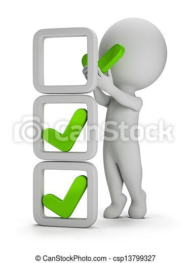 instalação, pessoas, -, marcas, pequeno, cheque, 3d - csp13799327