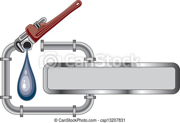 Diseño de fontanería con estandarte - csp13207831