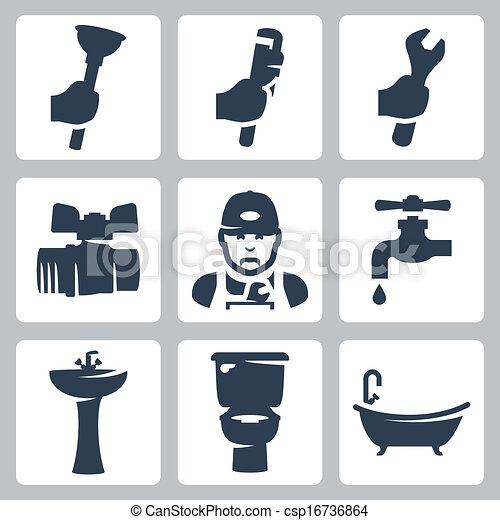 Iconos de plomería Vector listos - csp16736864