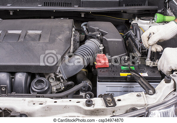 Install The Car Battery Install The New Car Battery For Automobile