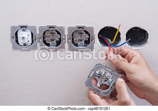 Installation, elektrisch, steckdosen. Drähte, elektriker, wand ...