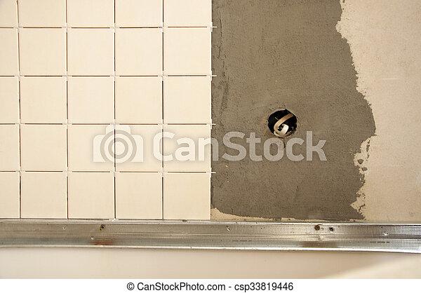 installation of ceramic tile - csp33819446