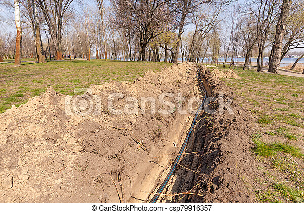 Installation of tubes for an irrigation system - csp79916357