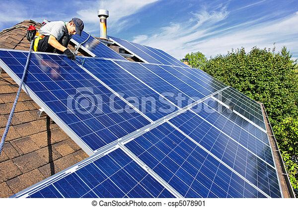 installation, panneau solaire - csp5078901