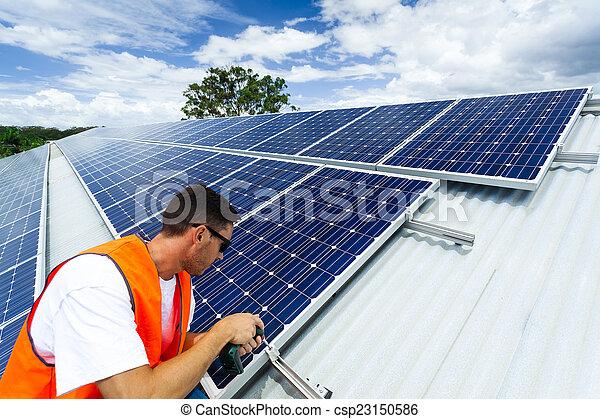 installation, solar panel - csp23150586