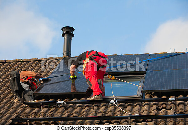 installation, solar panel - csp35538397