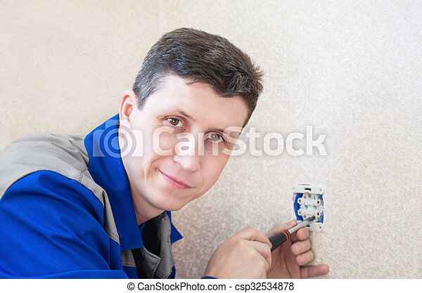 installs, électrique, apartment., électricien, sortie - csp32534878