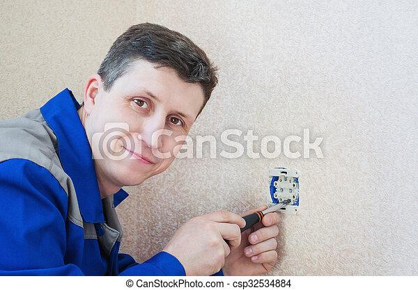installs, électrique, apartment., électricien, sortie - csp32534884