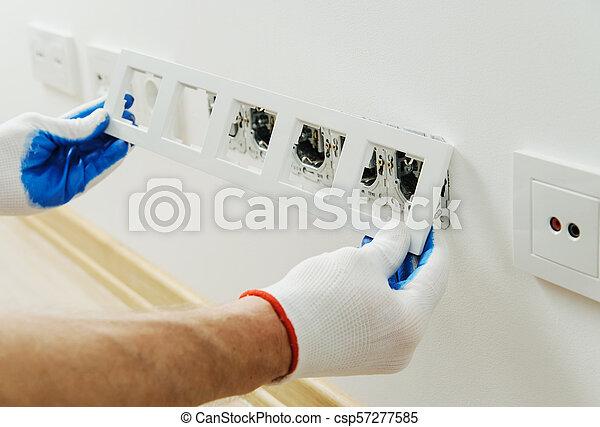 installs, décoratif, électricien, frame. - csp57277585