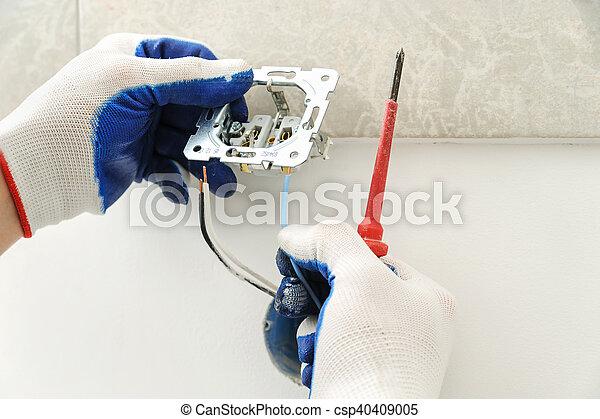 installs, outlet., électrique, électricien - csp40409005