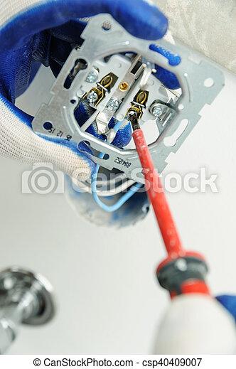 installs, outlet., électrique, électricien - csp40409007