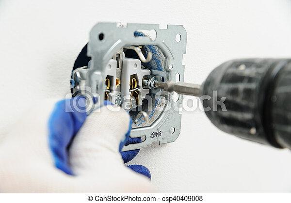 installs, outlet., électrique, électricien - csp40409008