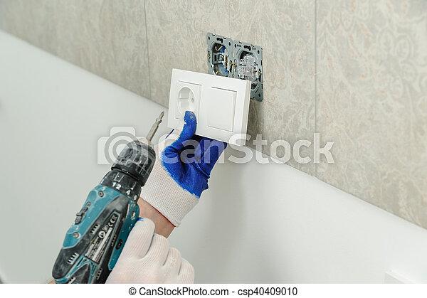 installs, outlet., électrique, électricien - csp40409010