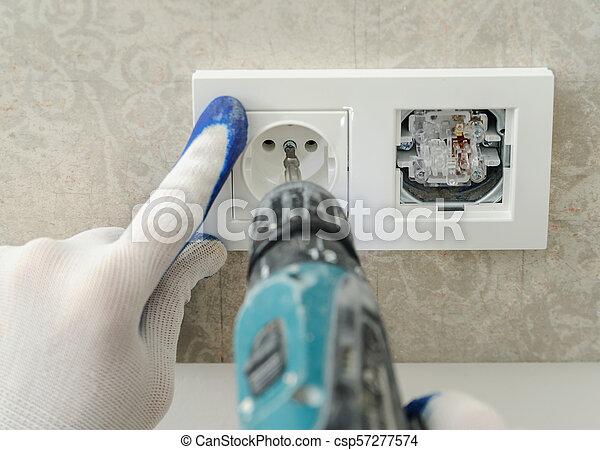 installs, outlet., électrique, électricien - csp57277574