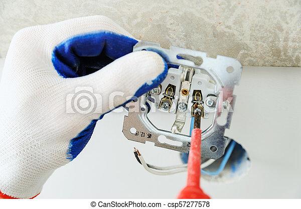 installs, outlet., électrique, électricien - csp57277578