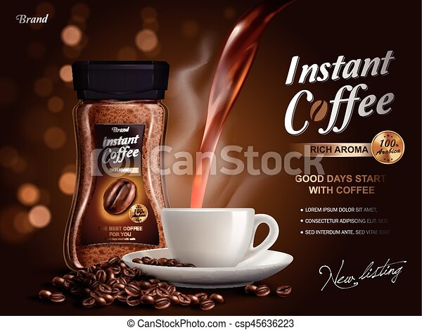 instant coffee ad with coffee flow elements bokeh