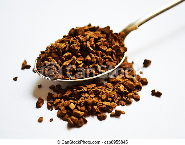 Instant coffee in a spoon  - csp6955845