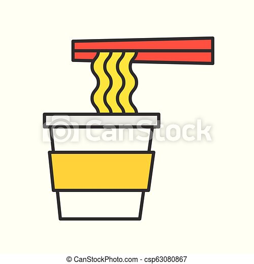 instant noodle cup and chopsticks, food and gastronomy set, filled outline icon - csp63080867
