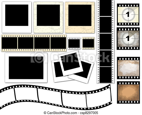 Vector illustration of isolated instant photo frames and film strip.