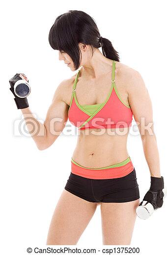 instruktör, hantlar, muskulös, fitness - csp1375200