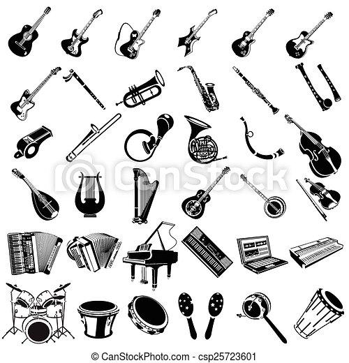 instrument, black , muziek, iconen - csp25723601