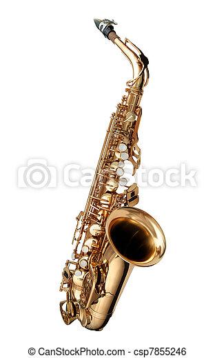 instrument, jazz, odizolowany, saksofon - csp7855246