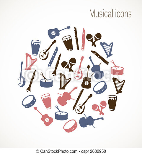 instrument, muzyczny, ikony - csp12682950