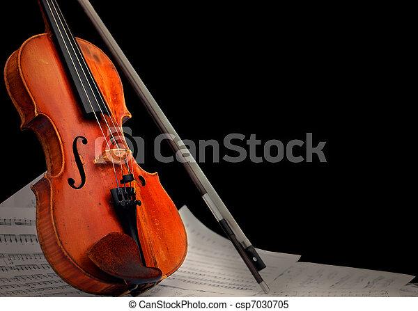 instrument, notatki, muzyczny, ?, skrzypce - csp7030705