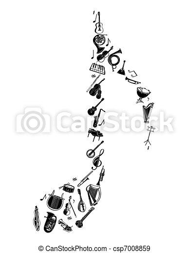 instrument, set., vector, silhouette, muzikalisch - csp7008859